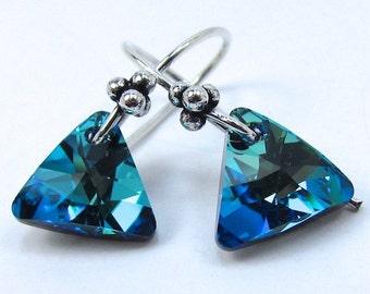 Blue Crystal Earrings, Swarovski Bermuda Blue Triangle Earrings