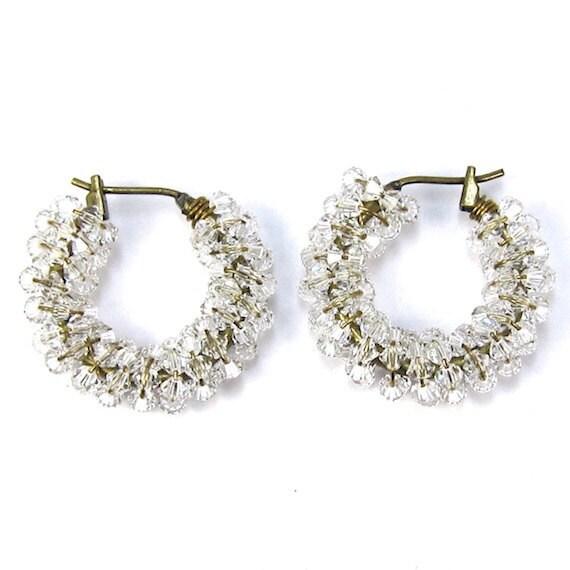 items similar to swarovski hoop earrings