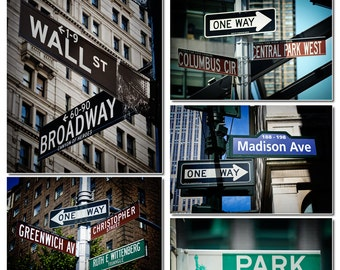 8 New York City Tourist Street Signs Photo Print, Tourism, NYC, Park Ave, Fifth Ave, Madison Ave, Greenwich, Village, Columbus, Times Square