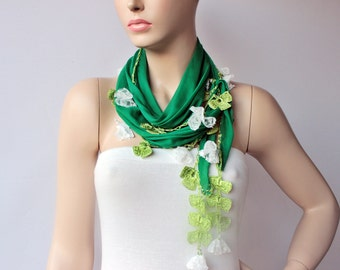 Turkish oya scarf , turkish yemeni , summer scarf with hand crocheted lace border