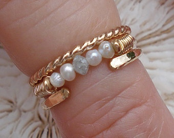 3-RING STACK, 14K rings, gold rings, rings, knuckle ring, stacking ring, finger ring, small ring, pearls, diamond beads, diamond, diamonds