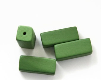 Large Green Wooden Beads, Wooden Rectangle Beads 5pcs W 70 019