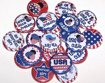 """USA Cutie 4th of July Party Favors Set of 10 Buttons 1"""" Pins or Magnets American Red White Blue 4th of July Pins"""