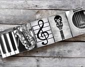 MUSIC Sign in Alphabet Photography Framed Letter Art for the Music Lover, Music instrument letters