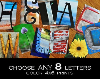 Alphabet Photography 4x6 Color  Individual Photo Letters ANY 8 LETTERS