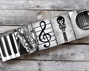 MUSIC Sign in Alphabet Photography Framed Letter Art for the Music Teacher or Lover, Music instrument letters