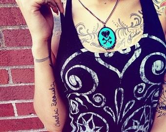 Custom Heart and Crossbones Necklace (cameo)