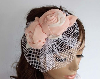 Floral Birdcage Veil, Bridal Bandeau Fascinator, Wedding Headpiece, Blush Pink Flower Hair Flower Romantic Wedding Girl Holy Communion Veil