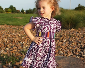 Fall Girls Peasant Dress in Purple with Sash- Size 7/8- Ready to Ship-SUPER SALE- Back to School