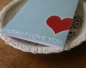 I Totally Love you - Modern Graphic Greeting Card Aqua Light Blue - Love Anniversary Wedding Mothers Day Birthday Valentines Day