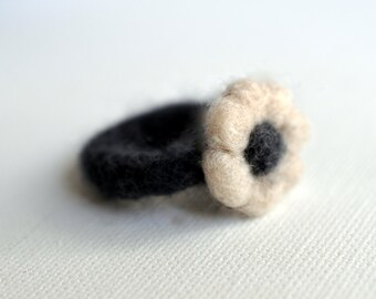 Felted Ring- Cozy Cashmere hand felted flower ring