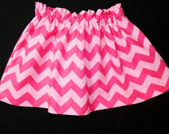 Tween, girl, toddler, baby bubblegum hot  pink and light pink chevron fabric skirt sizes NB 3m 6m 12m 18m 24m 2t 3t 4t 5T 6 7 8 10 12 14 16