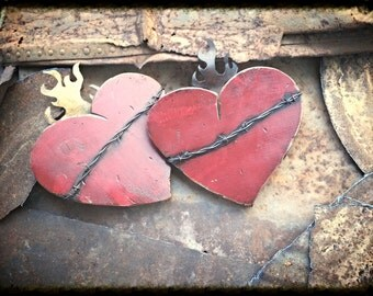 Rustic sacred heart reclaimed wood and metal