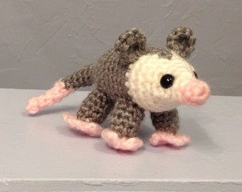 Opossum Possum - Hand Crocheted - Possum Amigurumi - Made to Order