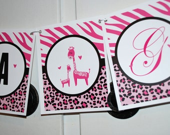 SAFARI BABY SHOWER Banner - It's A Girl