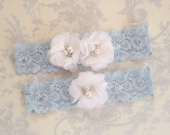 Wedding Garter , Blue Garter Set with Toss Garter in Something Blue and White , Bridal Garter with Chiffon Blossoms pearls and rhinestones