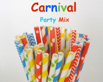 "Paper Straws ""CIRCUS CARNIVAL"" Party Mix Paper Drinking Straws Cake Pop Sticks Mason Jar Paper Straws Wedding, Birthdays"