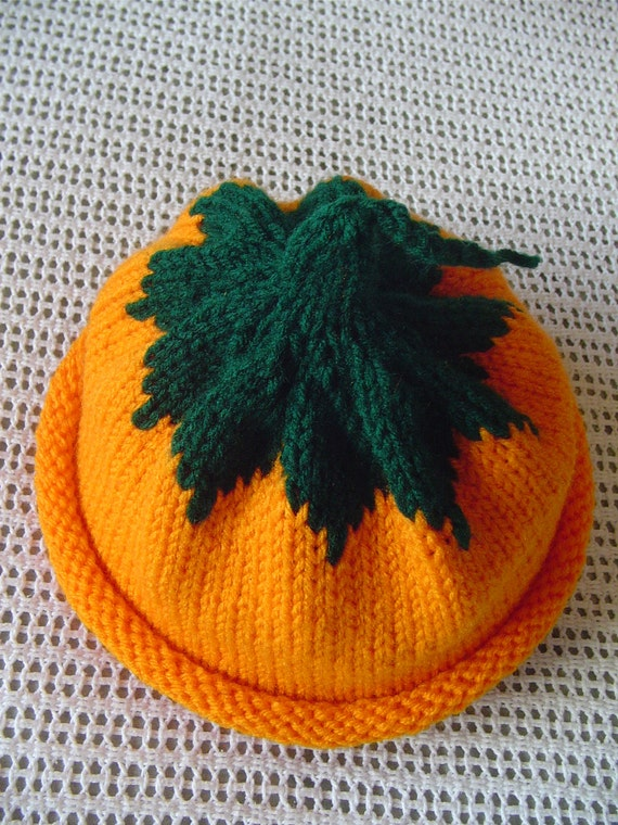 Pumpkin Hat - Hand Knit - Toddler Size - Halloween Fun -  More orange than the picture shows....