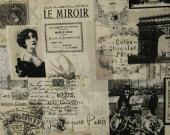 Vintage Paris LeMirror Bon Jour Beige Tan Cotton Fabric Fat Quarter Or Custom Listing