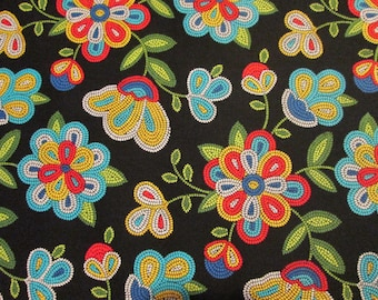 Native American Navajo Beaded Floral Flower Black Cotton Fabric Quarter or Custom Listing