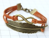Eternity Infinity & Feather Leather Bracelet cognac bronzecolored - friendship forever twin sister best friend besties bff daughter gift