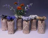 Lace-Impressed Ceramic Bud Vase