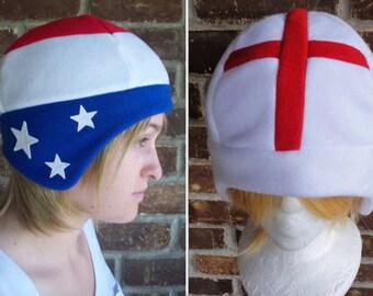 America - USA, England, or Ireland - United Kingdom Flag Hat - Fleece Hat Adult, Teen, Kid - A winter, nerdy, geekery gift!