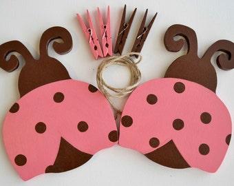 Ladybug Artwork Hanger, Art Display, Pink and Brown