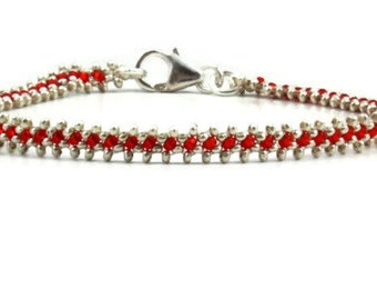 Silver Anklet - Beaded Chain Anklet - Red Silver Ankle Bracelet - Beadwork Jewelry - Beach Jewelry - Bridesmaid Gift Karen Hill Tribe SIlver
