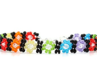 Child Anklet - Multi Color Anklet - Beadwork Jewelry - Daisy Chain Anklet - Bead Ankle Bracelet - Children's Jewelry