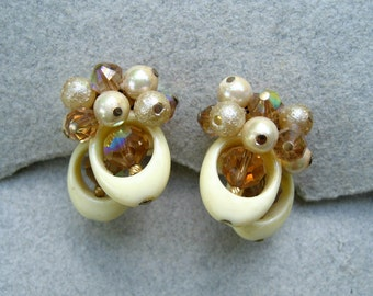 Vintage Vendome Earrings Cluster Bead Ivory Lucite AB Crystal