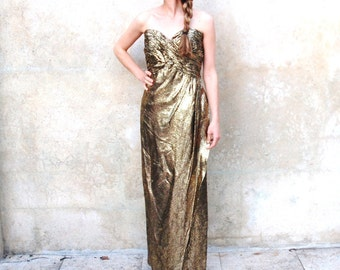 1980s Victor Costa strapless gold metallic snakeskin evening gown - 80s Hollywood glamour formal dress -  medium