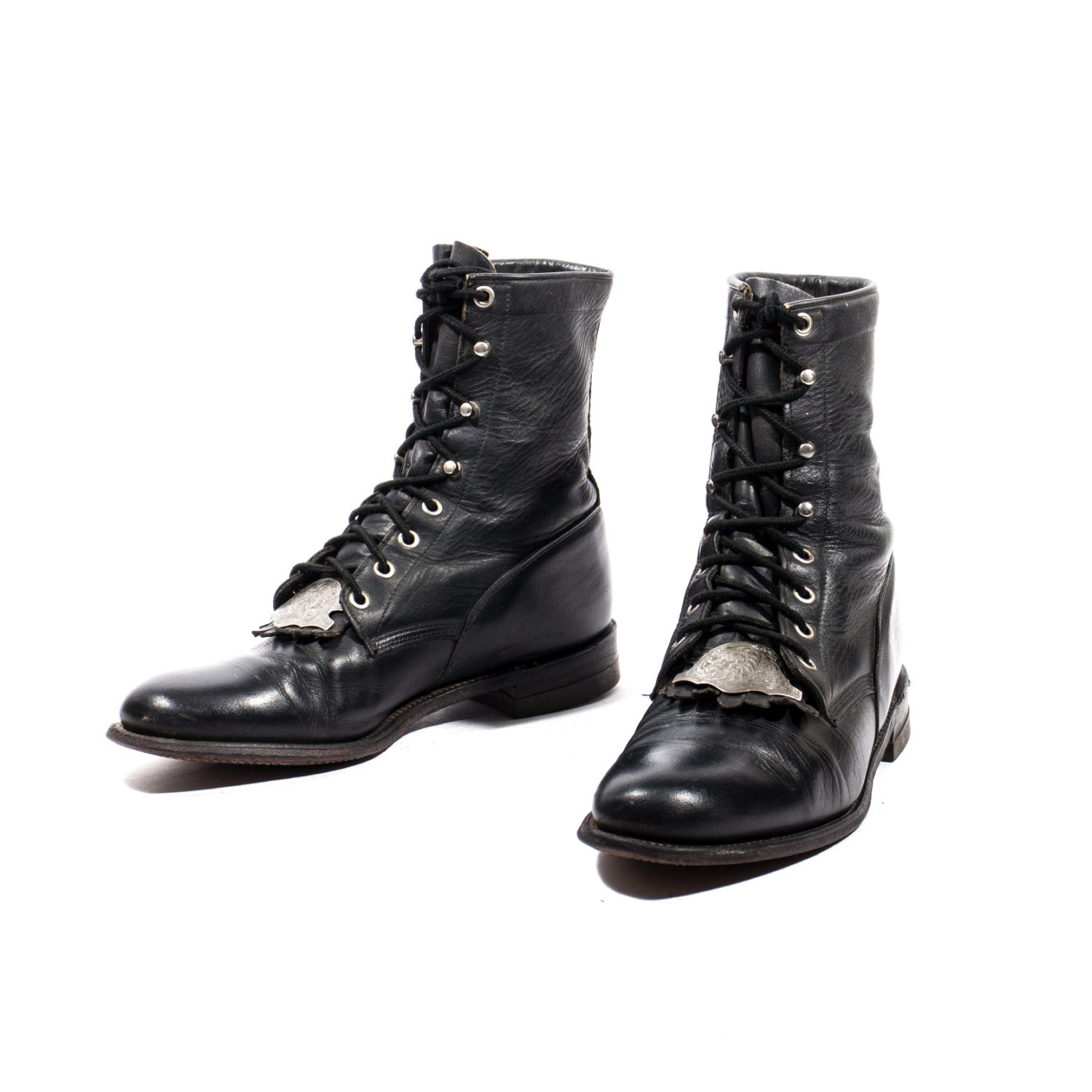 Vintage Justin Lace Up Ropers Black Leather Lace Up Boots With
