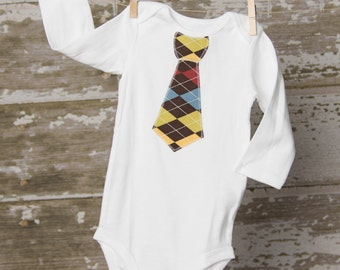 Baby Boy Argyle Tie Bodysuit any size newborn to 24 months Short or Long Sleeves