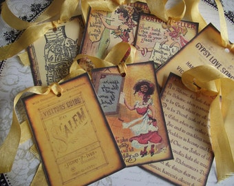 Gypsy Gift Tags  Distress Look  Seam Binding Gold Ribbon