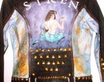 Deep Indigo Blue Hand Painted Studded Denim Jacket SIREN Mermaid Pin Up Mermaid S M