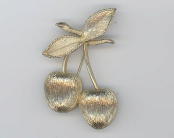 Sarah Coventry Cherry Pin and Matching Clip Earrings
