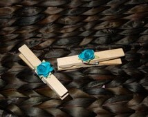 Peacock Wedding Place Card Holders, Table Setting Decor, Clothes Pins,10