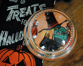 Vintage Halloween - Vintage Paperweight - Vintage Halloween Napkin - Witch - Glass Paperweight -  Collectible