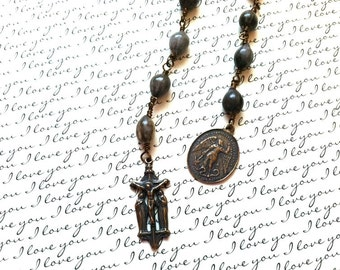 Rosary Tenner - Jobs Tear Bead Tenner - Unbreakable Rosary - Wire Wrapped -  Made in USA