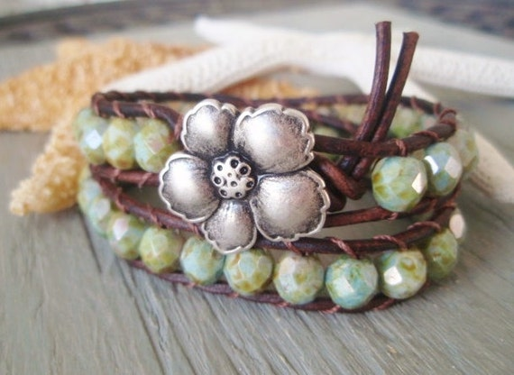 Leather wrap bracelet 'Exotica' rustic blue green turquoise brown leather hibiscus flower tropical surfer Hawaiian inspired boho