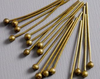 HEADPIN-AB-20MM - 300 Antique Bronze Ball End Headpins (24 guage) - 20mm