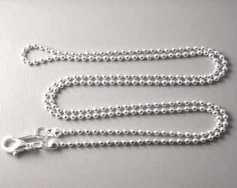 CHAIN-SLVR-BALL-2x24IN - Silver Plated Ball Chain, 2mm , 24 inch long, Finished Chain - 5 pcs