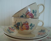 ViNtaGe Pair of Cups and Saucers  Pinky/Orange Rose Buds