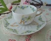 Delicate AnTiQuE Limoges Demitasse Teacup and Saucer  T&V France
