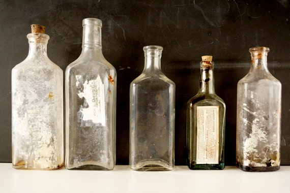 Antique vintage medicine bottles apothocary bottles for Halloween medicine bottles