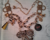 my french story Harlotta assemblage necklace vintage cosmetics fan the key to courting vintage charms rhinestones