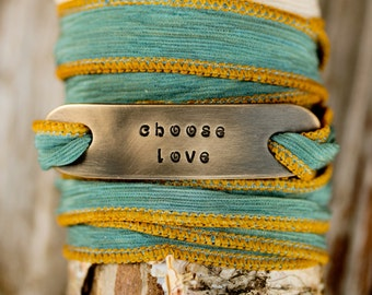 Hand Dyed THICK Silk Wrap Power Phrase Cord Bracelet - Namaste Clarity Grace Hope Choose Love - Boho- Inspirational - Beachcomber Collection