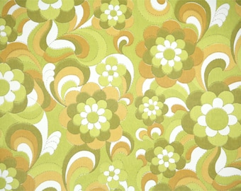 Retro Wallpaper by the Yard 70s Vintage Walpaper - 1970s Green and Gold Floral
