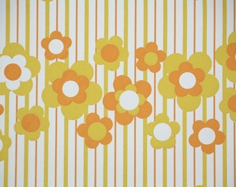 Vintage Wallpaper by the Yard 70s Retro Wallpaper - 1970s Orange and Yellow Flowers on Stripes